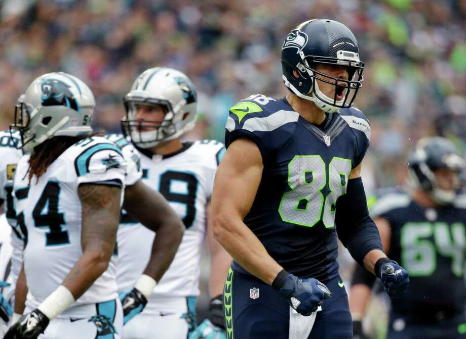 Seahawks tight end Jimmy Graham is the most notable player not on our way-too-early 2016 Seahawks 53-man roster projection after suffering a patellar tendon injury last year. Photo: Elaine Thompson, Associated Press / AP
