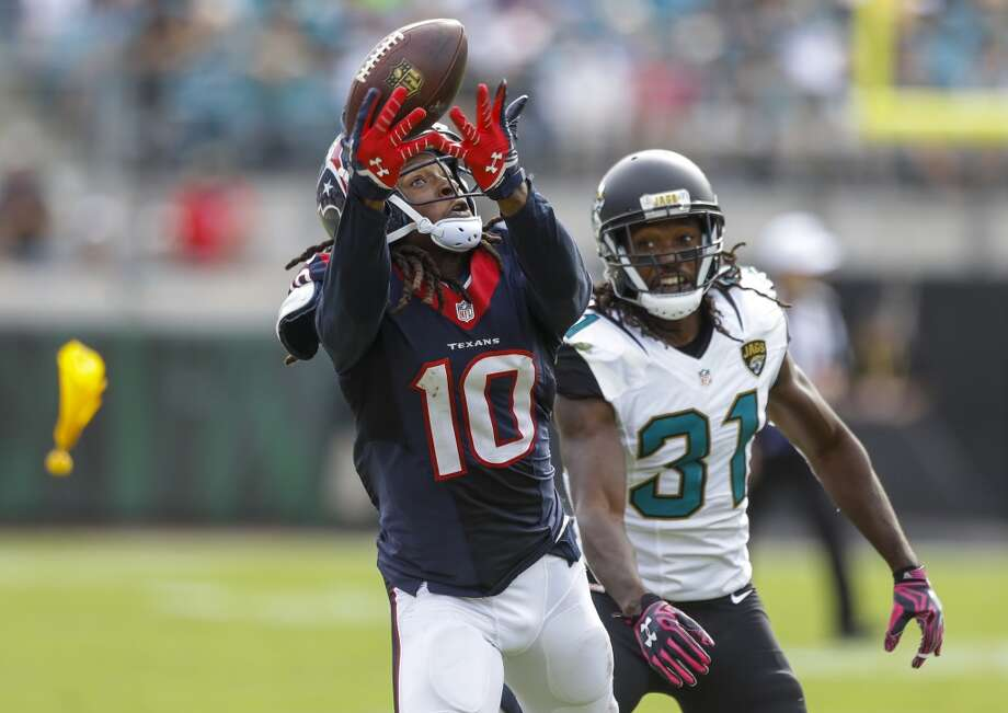 Houston Texans wide receiver DeAndre Hopkins (10) beats Jacksonville Jaguars cornerback Davon House (31) for a reception down the sidelines during the fourth quarter of an NFL football game at EverBank Field on Sunday, Oct. 18, 2015, in Jacksonville. ( Brett Coomer / Houston Chronicle ) Photo: Brett Coomer, Houston Chronicle