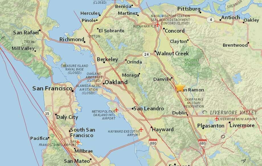 San Ramon Earthquake Map.Update Magnitude 3 1 Earthquake Shakes East Bay Amid Swarm Sfgate