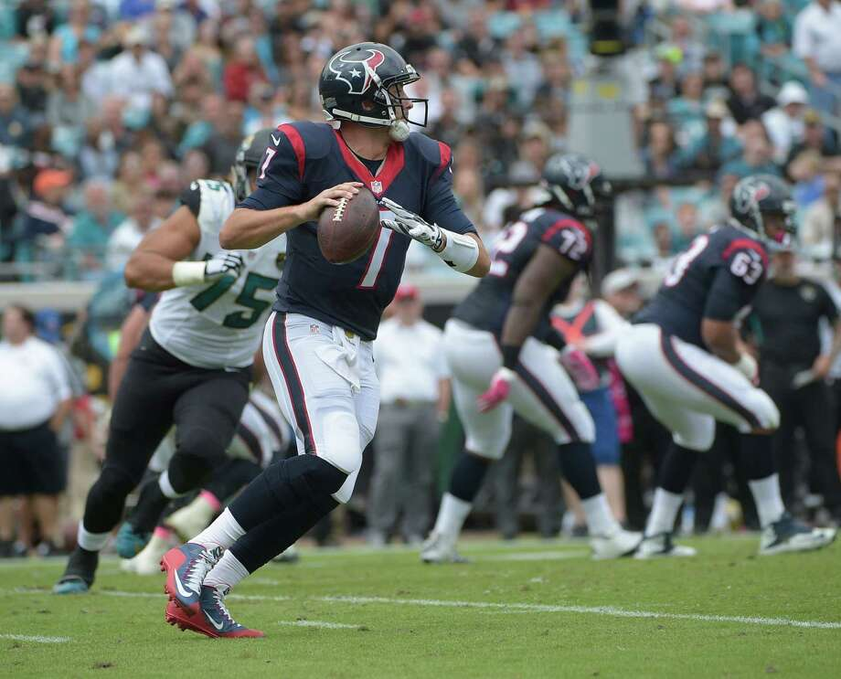 Houston Texans quarterback Brian Hoyer (7) looks for a receiver during the second half of an NFL football game against the Jacksonville Jaguars in Jacksonville, Fla., Sunday, Oct. 18, 2015. Houston won 31-20. (AP Photo/Phelan M. Ebenhack) Photo: Phelan M. Ebenhack, FRE / Associated Press / FR121174 AP
