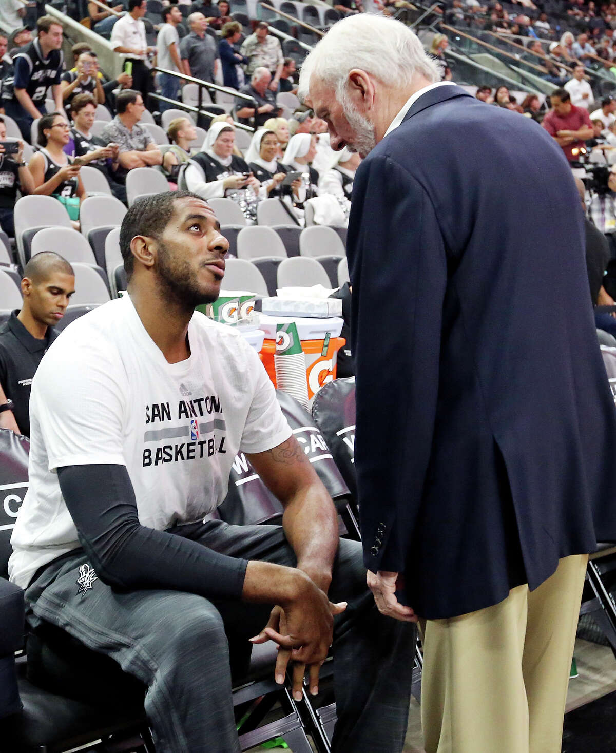Spurs Coach Gregg Popovich contributed to the outpouring of support shown to LaMarcus Aldridge following his abrupt retirement decision due to a health condition.he game with the Pistons Sunday Oct. 18, 2015 at the AT&T Center.