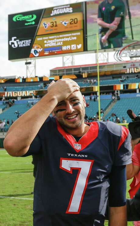 Score one for the Texans and quarterback Brian Hoyer, who made it out of EverBank Field with the team's second victory of the season. Photo: Brett Coomer, Staff / © 2015  Houston Chronicle