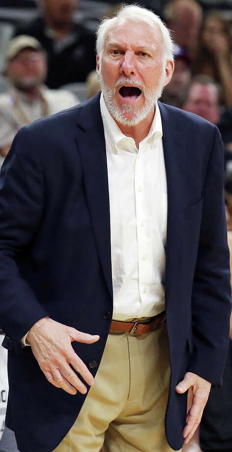Spurs head coach Gregg Popovich reacts after a play during second half action against the Pistons Sunday Oct. 18, 2015 at the AT&T Center. The Spurs won 96-92. Photo: Edward A. Ornelas, Staff / San Antonio Express-News / © 2015 San Antonio Express-News