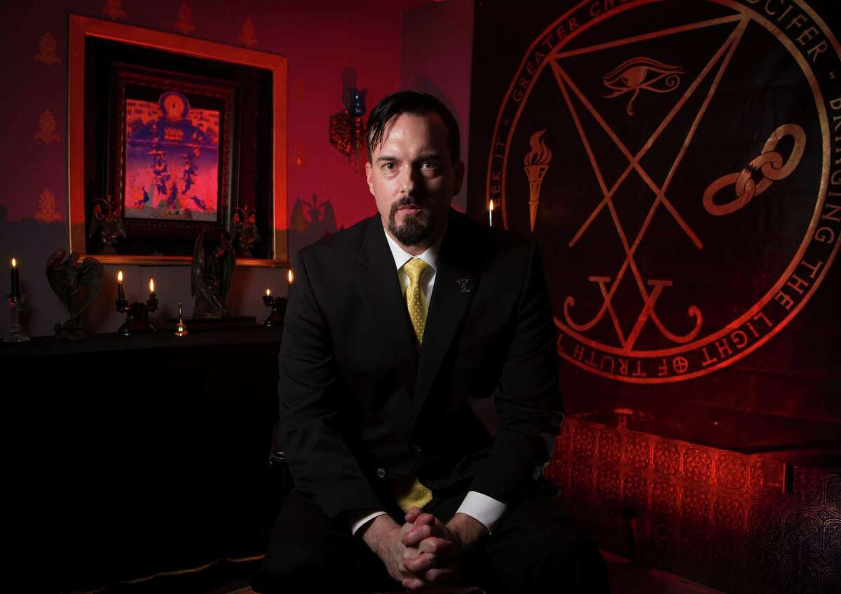 Michael Ford is an author and co-president Greater Church of Lucifer, which is set to open Oct. 30 in Old Town Spring with a three-day celebration featuring presentations about the church's philosophy. The church has about 30 members. Thursday, Oct. 8, 2015, in Spring. ( Marie D. De Jesus / Houston Chronicle )