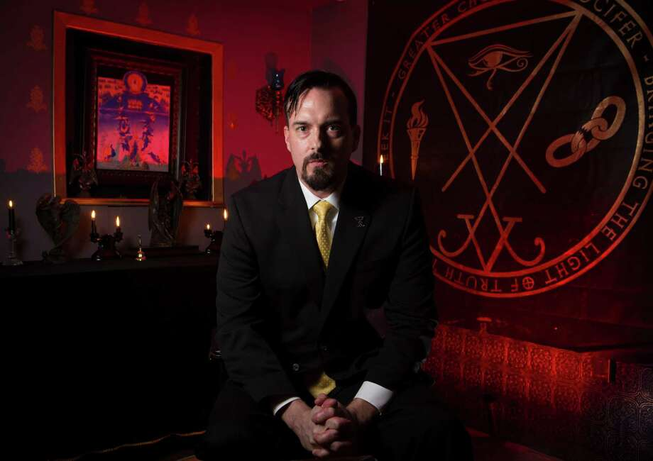 Michael Ford is an author and co-president Greater Church of Lucifer, which is set to open Oct. 30 in Old Town Spring with a three-day celebration featuring presentations about the church's philosophy. The church has about 30 members.  Thursday, Oct. 8, 2015, in Spring. ( Marie D. De Jesus / Houston Chronicle ) Photo: Marie D. De Jesus, Staff / © 2015 Houston Chronicle