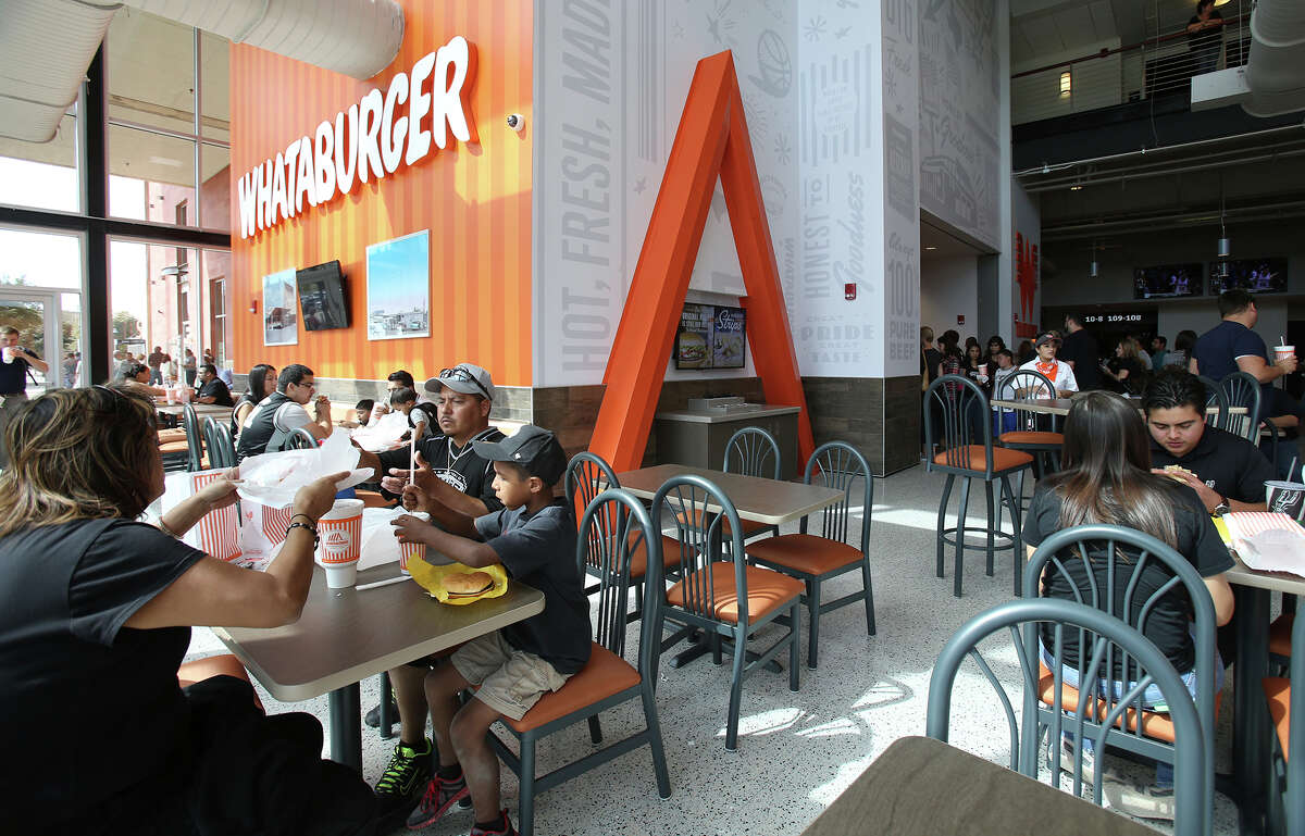 Hungry crowds make the new Whataburger a busy place as the newly renovated AT&T Center is opened to Spurs fans for the first time on October 18, 2015.