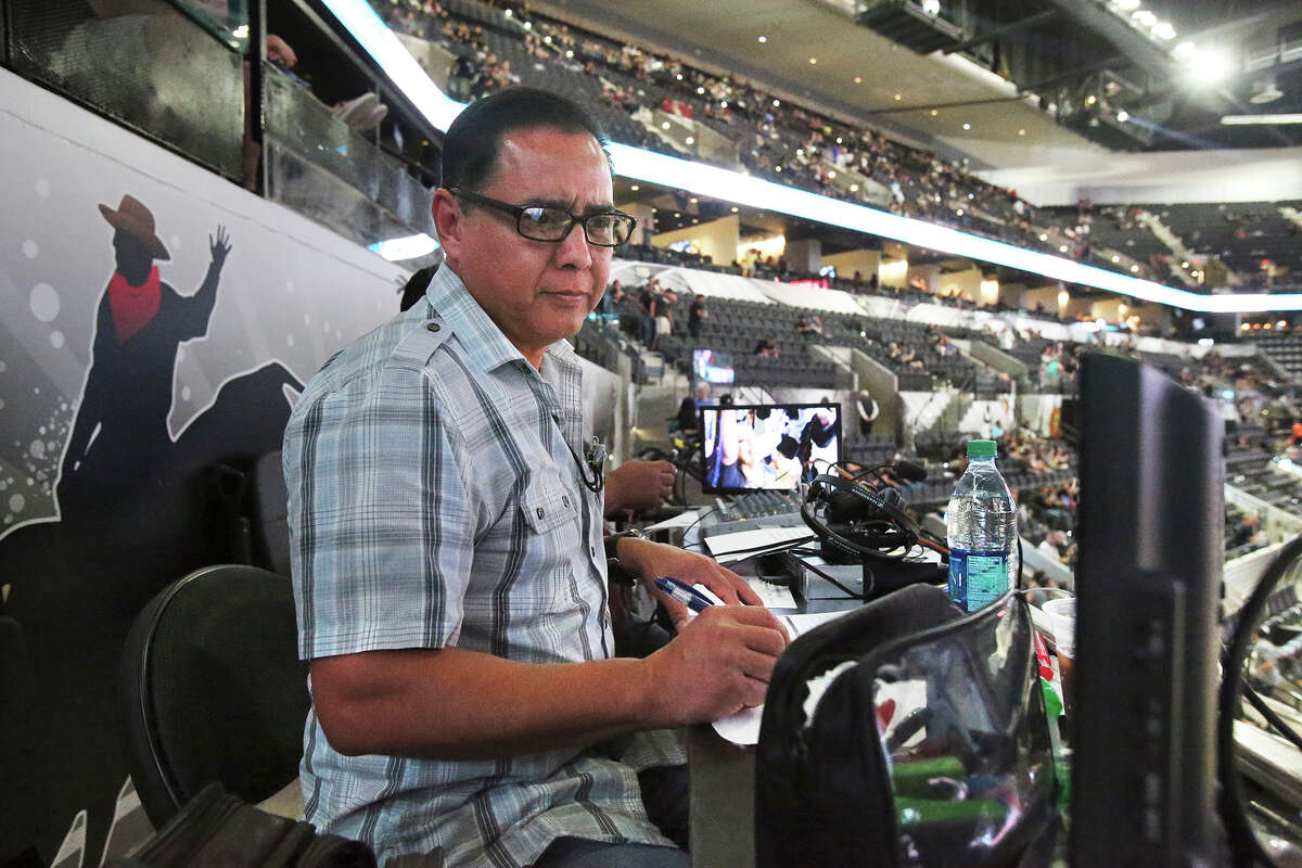 Paul Castro, Spanish-language broadcaster for the Spurs, mans his station at the AT&T Center on Oct. 18, 2015.