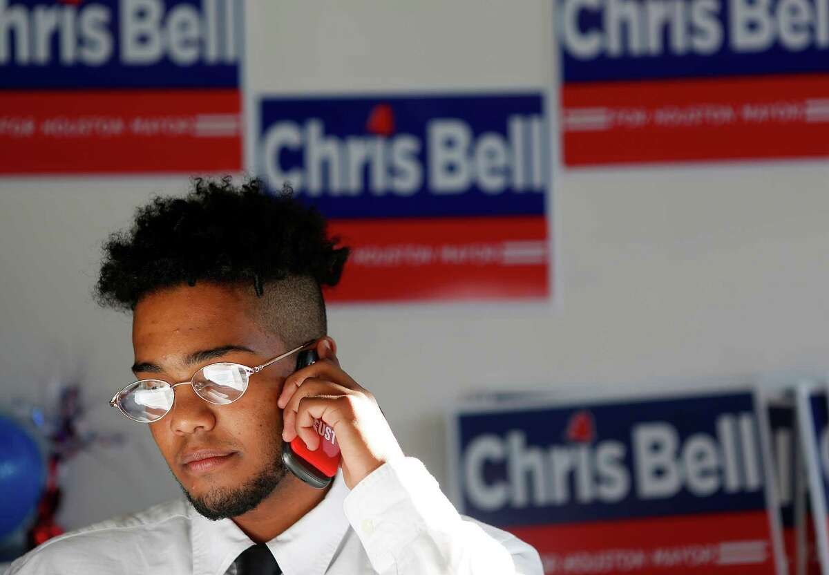 Jonathan Tegegne, 18, makes calls to potential voters on behalf of Chris Bell's mayoral campaign.