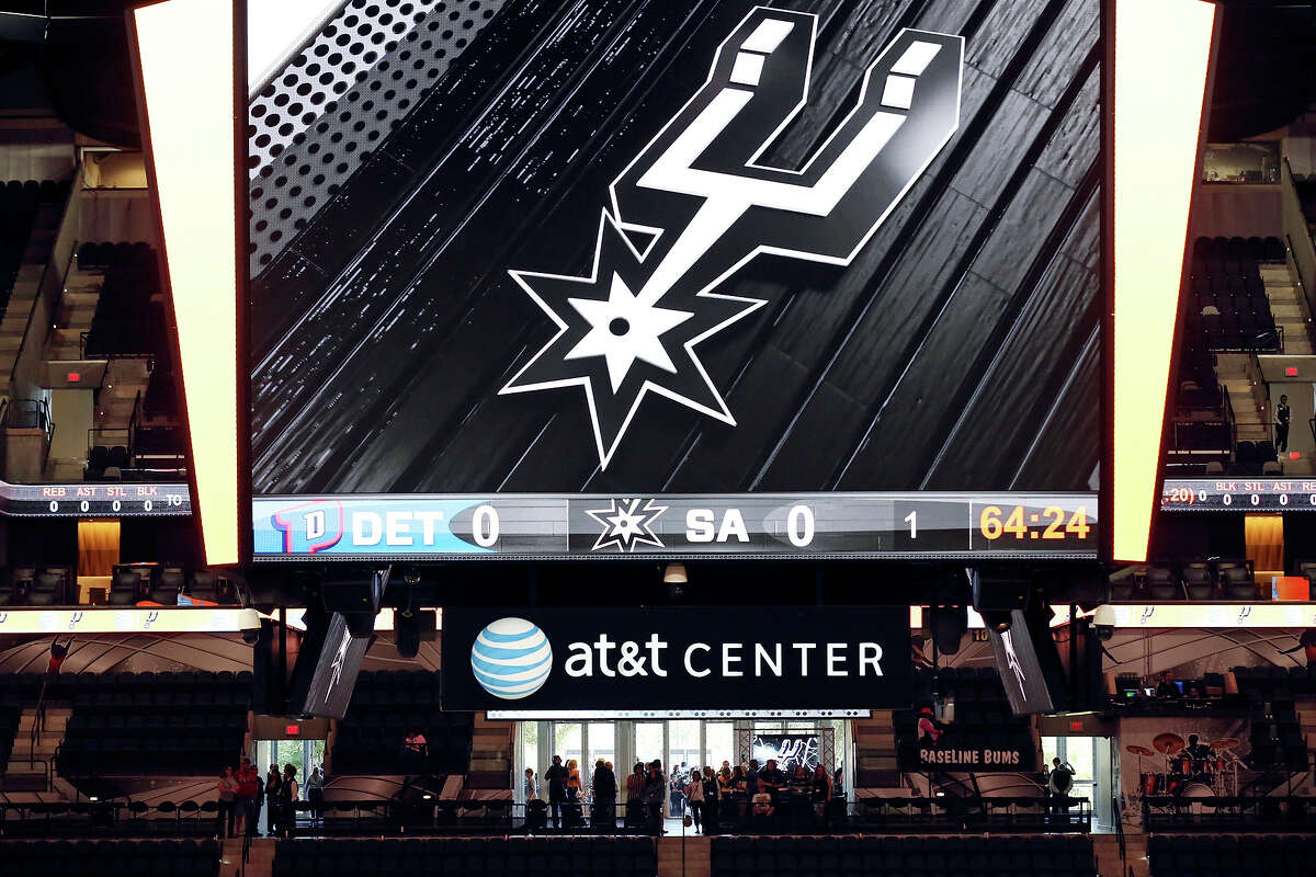 A view of the new scoreboard in the renovated AT&T Center Sunday Oct. 18, 2015 before the Spurs and Pistons game.