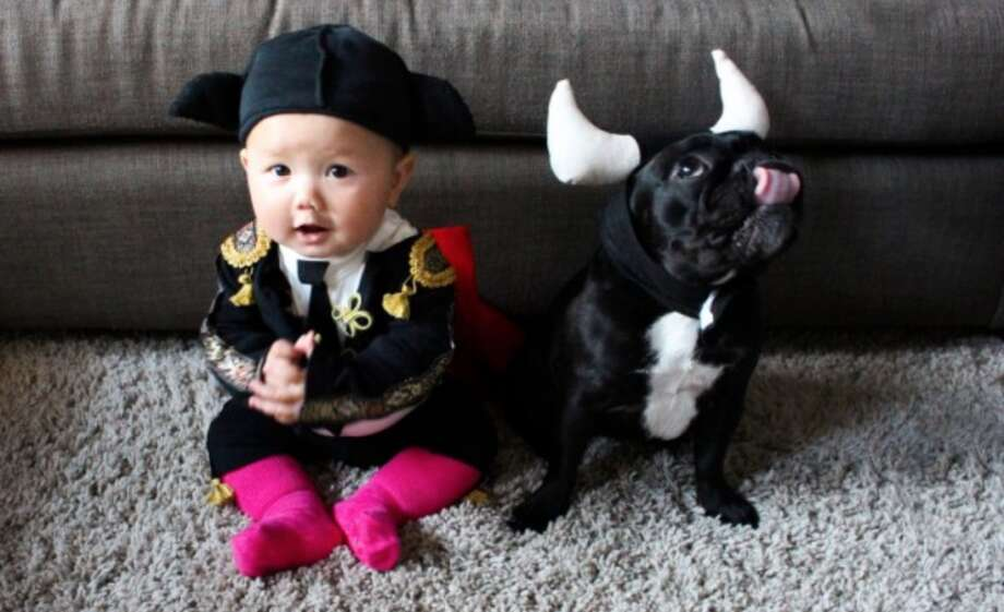 MATADOR and BULL (2013): The baby and small toddler costumes are really about the parents, and I'm OK with that. Raising a baby or 1-year-old is a tough job — we should all be allowed to dress them up like Liberace once per year. Even though the kid isn't going to remember this adorable bullfighter costume, the execution is magnificent. You can tell this little matador and bull-dog are going to have some fun years together. And some day the guy on the left is going to grow up and make this the profile picture for whatever the 2050 equivalent is of a Facebook page.