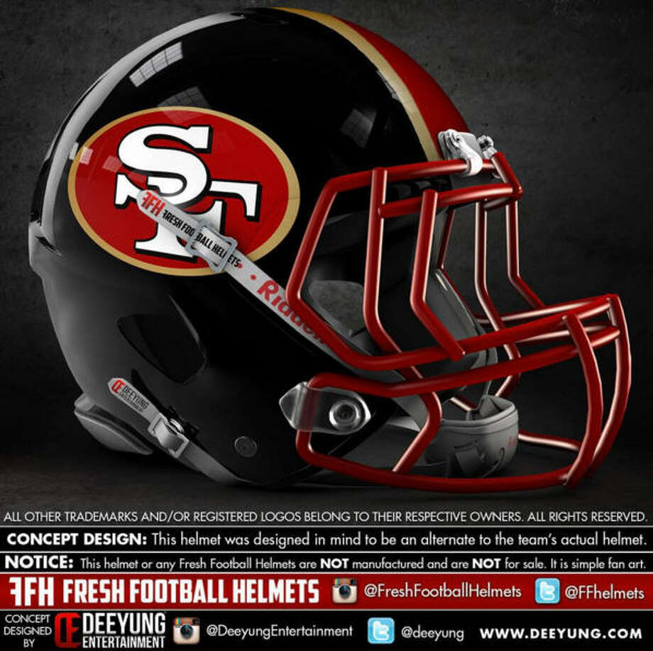 San Francisco 49ersConcept football helmet design by Dylan Young of Deeyung Entertainment. Photo: Dylan Young | Deeyung Entertainment