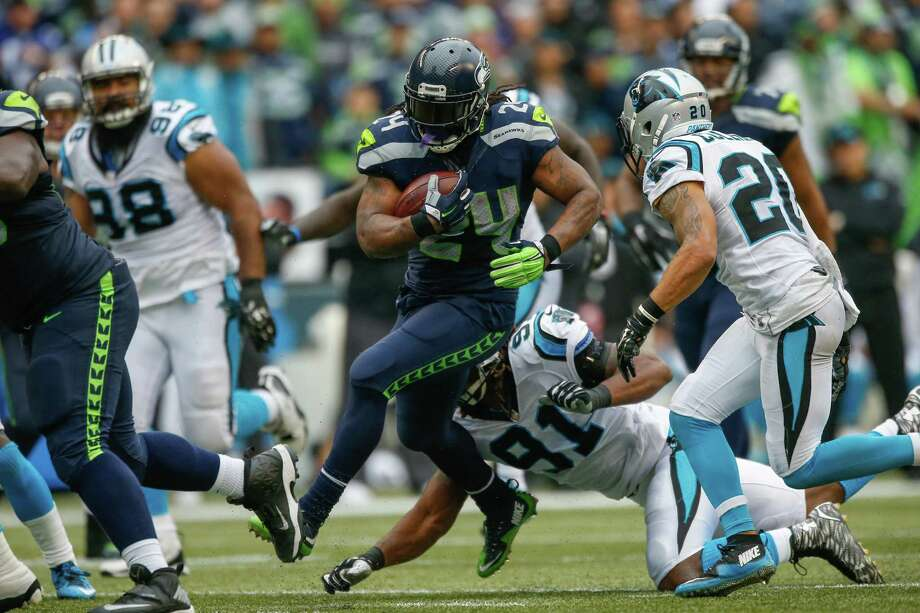Running backs:There wasn't a ton of running room for Marshawn Lynch, who finished the game averaging 3.2 yards on 17 carries, but he seemingly made the most of every opportunity. Unfortunately, his holding penalty on former Washington Huskies star Shaq Thompson killed Seattle's final offensive drive with the lead. Fred Jackson, Thomas Rawls and Will Tukuafu all played pretty well. Overall, an average day. Grade: C Photo: Otto Greule Jr, Getty Images / 2015 Getty Images