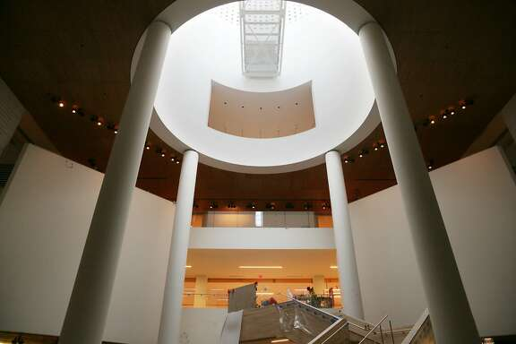 The San Francisco Museum of Modern Art's oculus lets light in on the new staircase in the entry space  on Oct. 8 in San Francisco.