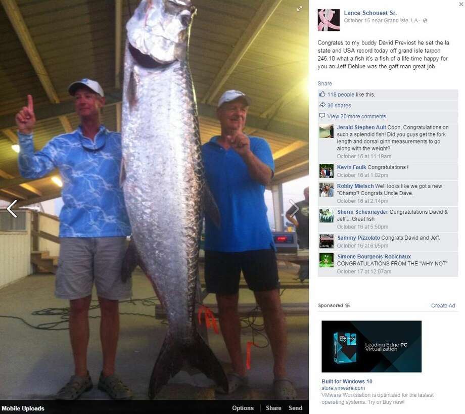 A fishing trip ended with a possible record breaking honor for two anglers who pulled in a huge, 246-pound tarpon.