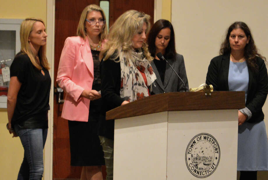 Five members of the Representative Town Meeting have proposed a new ordinance to require competitive bidding on town contracts. Discussing the proposal at a recent RTM session are sponsors Kristan Hamlin, Clarissa Moore, Brandi Briggs, Lauren Karpf and Sylina Levy. Photo: Jarret Liotta / For Hearst Connecticut Media / Westport News