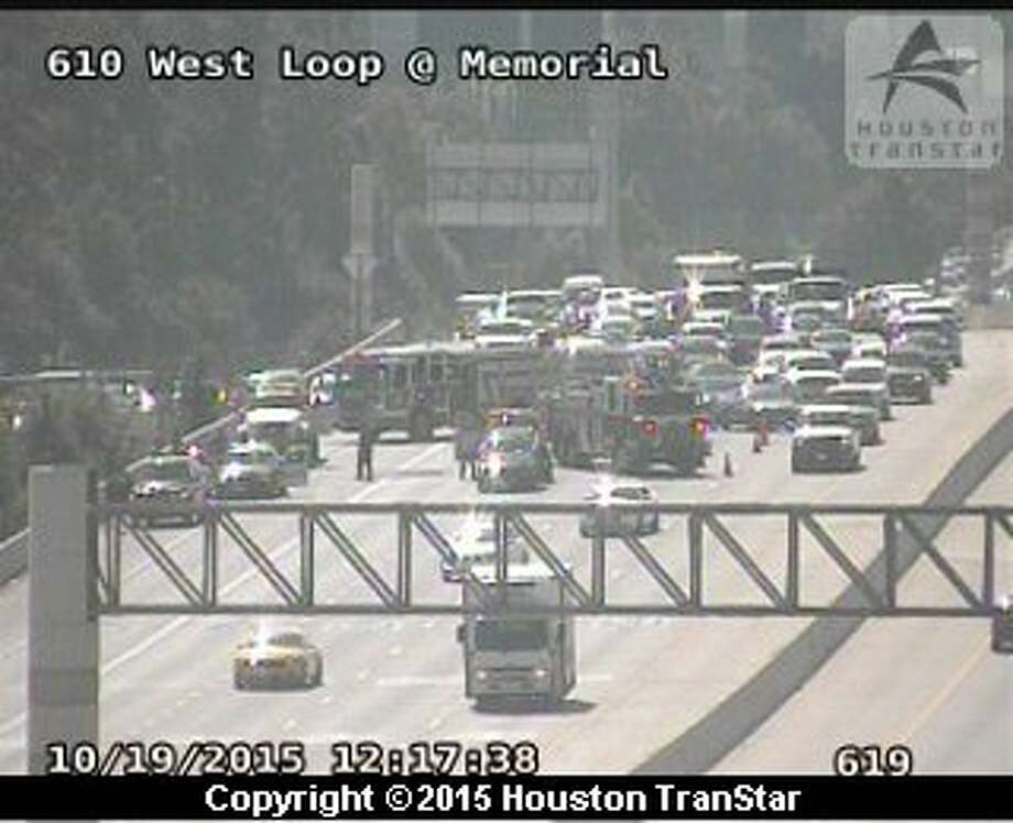 A two-vehicle wreck shut down three of four lanes on the West Loop northbound at I10 around midday Monday. No injuries were reported.