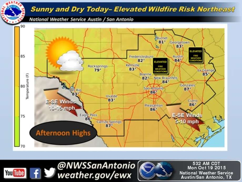 San Antonio is expected to receive up to 4 inches of rain late in the week, according to the National Weather Service. Photo: National Weather Service