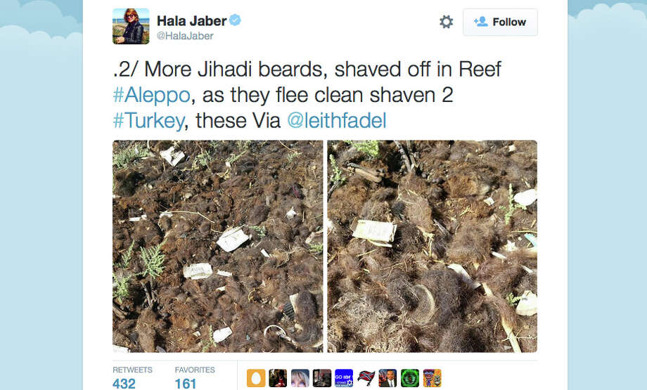 Sunday Telegraph journalist Hala Jaber tweeted these photographs of shaved beards of ISIS fighters in Syria. Photo: Twitter / @HalaJaber