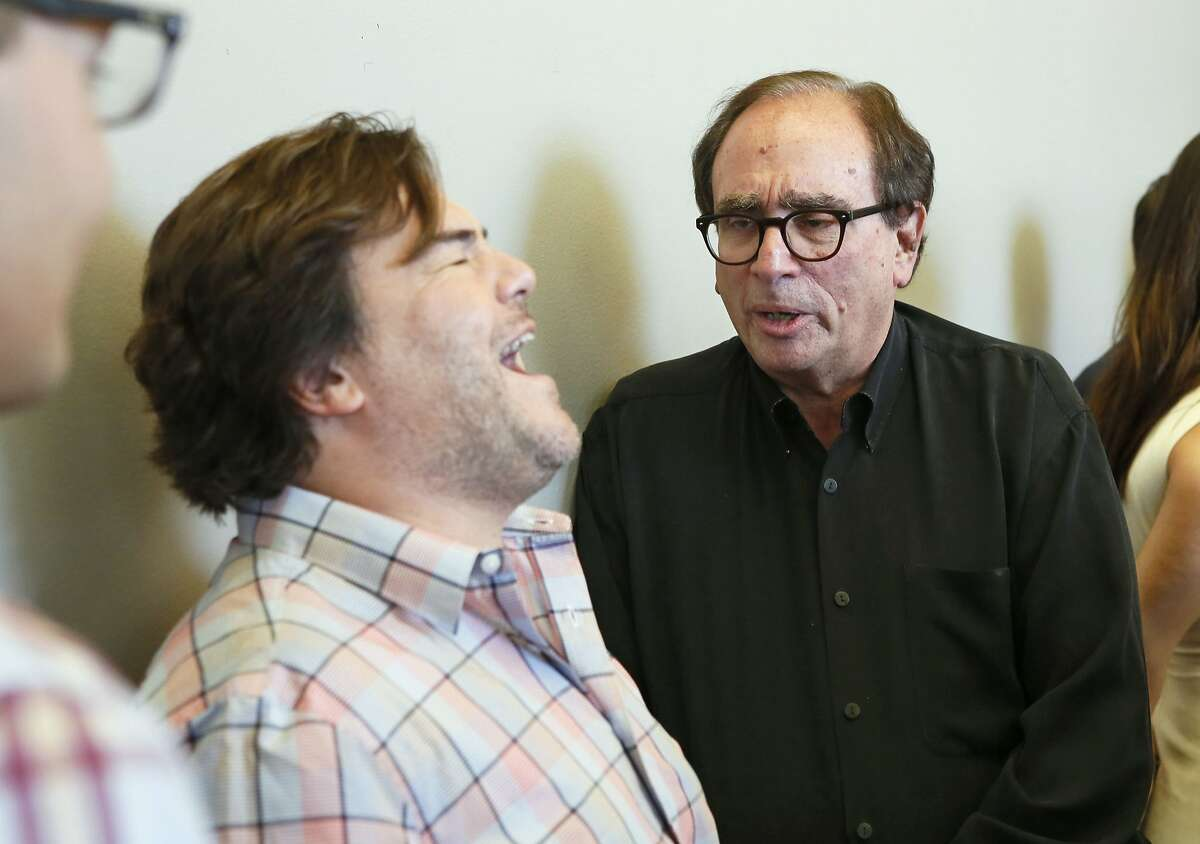 Actor Jack Black shares a funny moment with author, R.L. Stine, who he portrays in the upcoming film
