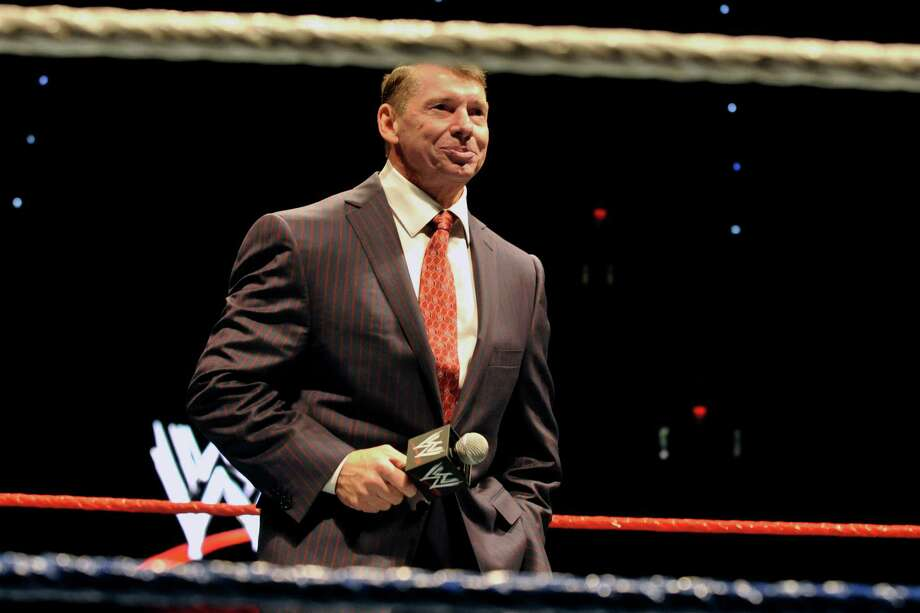Vince McMahon, husband of Republican U.S. Senate candidate Linda McMahon, speaks to an audience during a WWE fan appreciation event in Hartford, Conn., Saturday, Oct. 30, 2010. Former World Wrestling Entertainment CEO McMahon is battling Richard Blumenthal, the Connecticut  Attorney General, for the senate seat being vacated by the retiring Sen. Chris Dodd.  (AP Photo/Jessica Hill) Photo: Jessica Hill, ASSOCIATED PRESS / AP2010 Associated Press