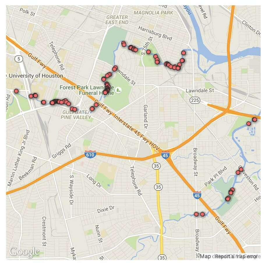 Texas Equusearch's map of the 127 cars known to be submerged in southeast Houston's bayous. Photo: Texas Equusearch