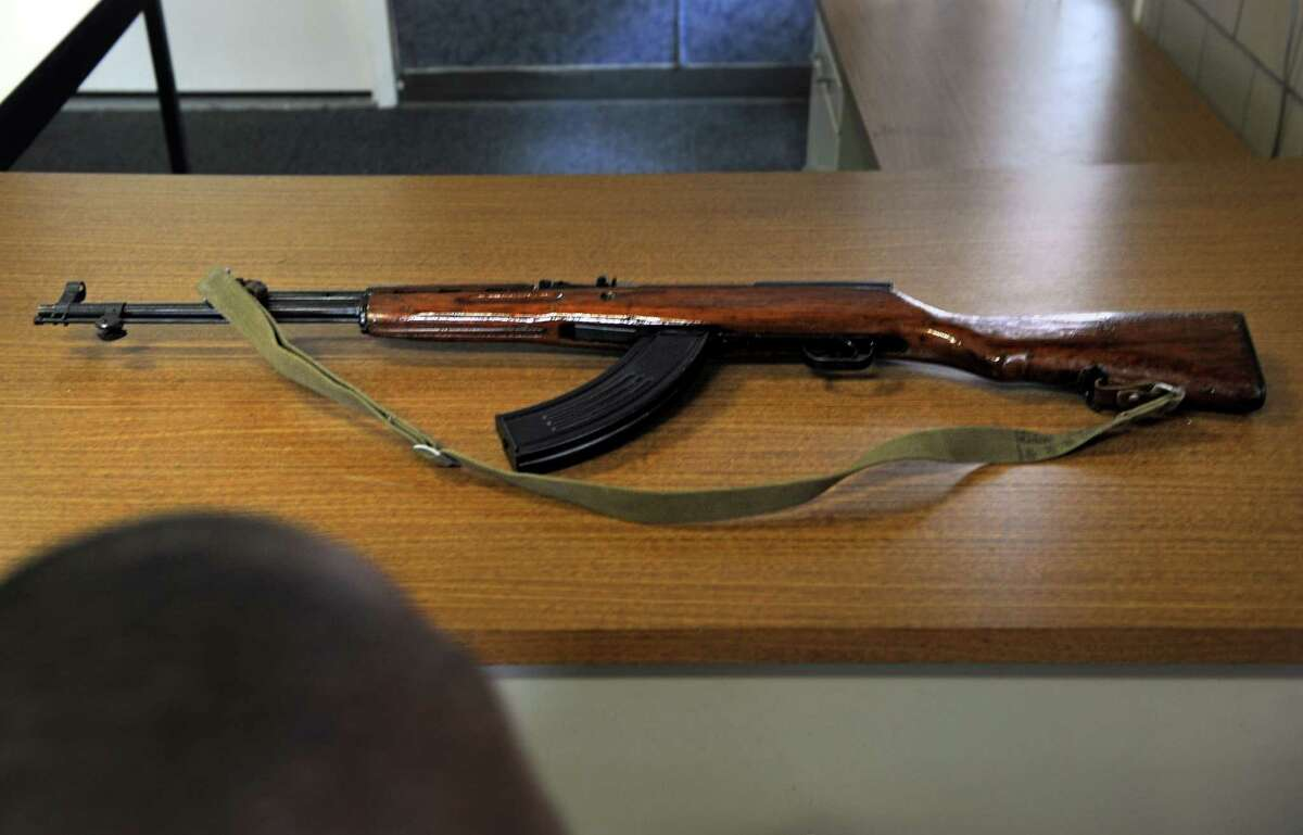 An assault rifle waiting to be collected during a recent gun buyback event in Bridgeport.