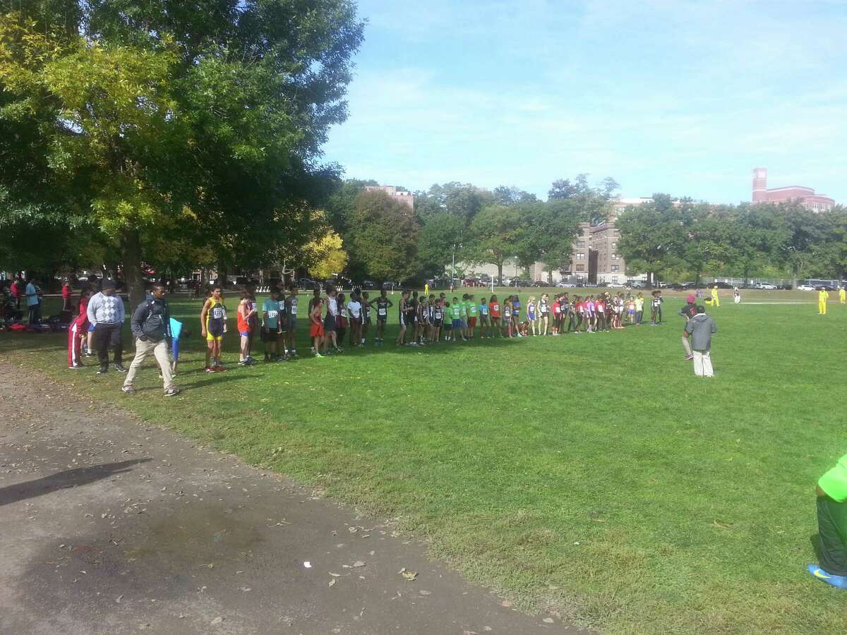 The Danbury Flyers' Adam Fox and Valerie Fox are among those at the starting line for the the start line for the ages 13-14 race at Van Cortlandt Park on Oct. 11, 2015.