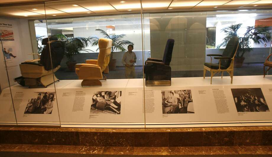 Historic airline seats, from the days when passengers weren't crammed into a too-small space, on display at San Francisco International Airport's museum in 2008. Photo: Lea Suzuki, The Chronicle