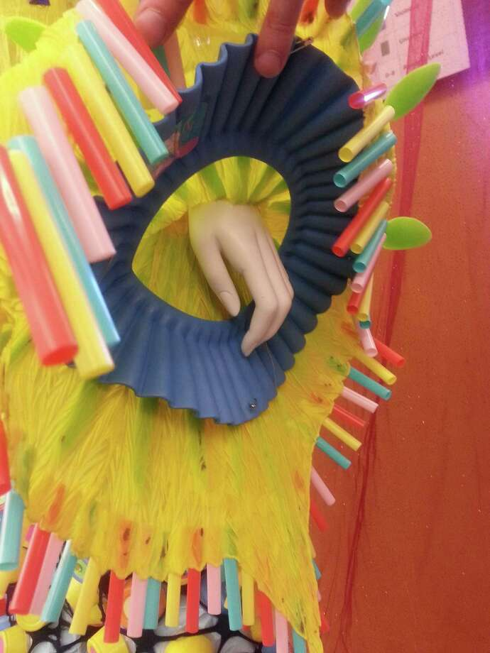 Detail from one of David Faulk's (aka Mrs. Vera) costumes on display at theSan Francisco Public Library for the Blind and Print Disabled. Photo: Bob Bragman