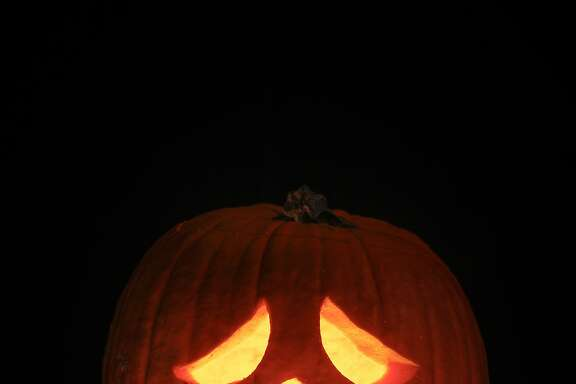 A jack o' lantern is seen on Monday, Oct. 19, 2015 in San Francisco, Calif.