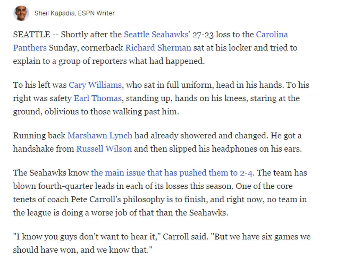 Over at ESPN.com, Seahawks beat writer Sheil Kapadia said that Seattle's problems may run deeper than simply finishing games.Wrote Kapadia: