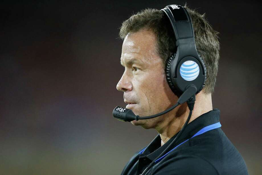 UCLA coach Jim Mora watches from the sideline during the second half against Stanford in an NCAA college football game Thursday, Oct. 15, 2015, Stanford, Calif. Stanford won 56-35. (AP Photo/Tony Avelar) Photo: Tony Avelar / Associated Press / FR155217 AP