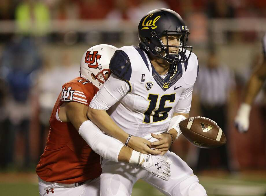 Cal quarterback Jared Goff, hit by Utah defensive end Kylie Fitts, hopes to rebound from the Bears' 30-24 loss in Salt Lake City on Oct. 10, when he threw five interceptions — a career high. Photo: Rick Bowmer, Associated Press