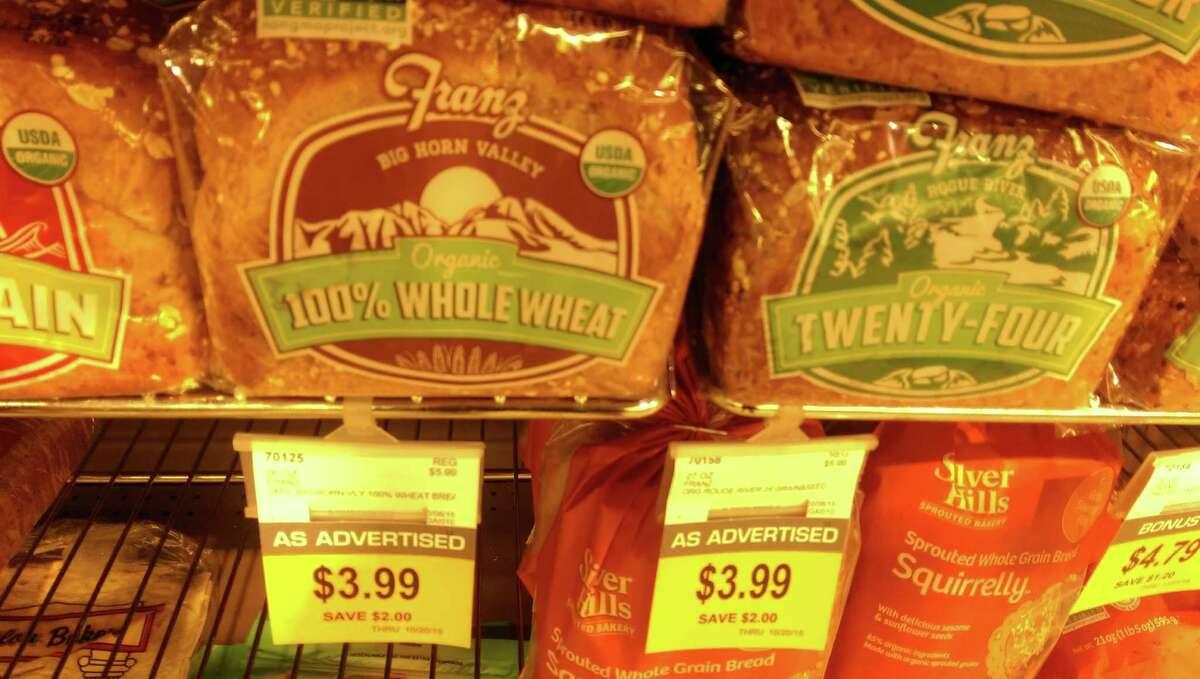 Metropolitan Market Franz organic whole wheat breadRegular price: $5.99Sale price: $3.99Winner: PCC on regular price, Metro on sale price.