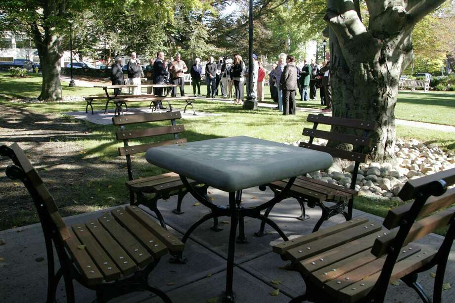 Newly installed seating, picnic tables and walkways are some of the many improvements to the Greenwich Common as officials hold a ceremony to rededicate the park on Oct.19, 2015. Photo: Matthew Brown / For Hearst Connecticut Media / Connecticut Post Freelance