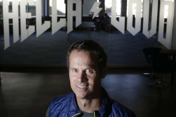 Tim Westergren, Pandora founder, stands for a portrait outside of a large meeting room in the recent expansion at the Pandora office on Monday, October 20,  2015 in Oakland, Calif.