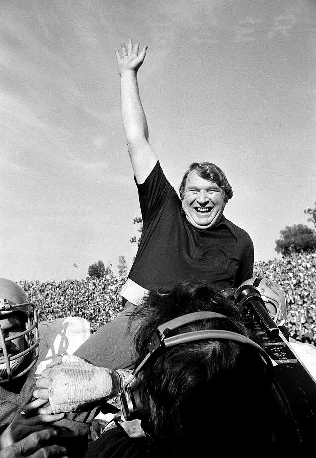 Raiders coach John Madden is carried from the field after Super Bowl XI. Photo: AP, File 1977