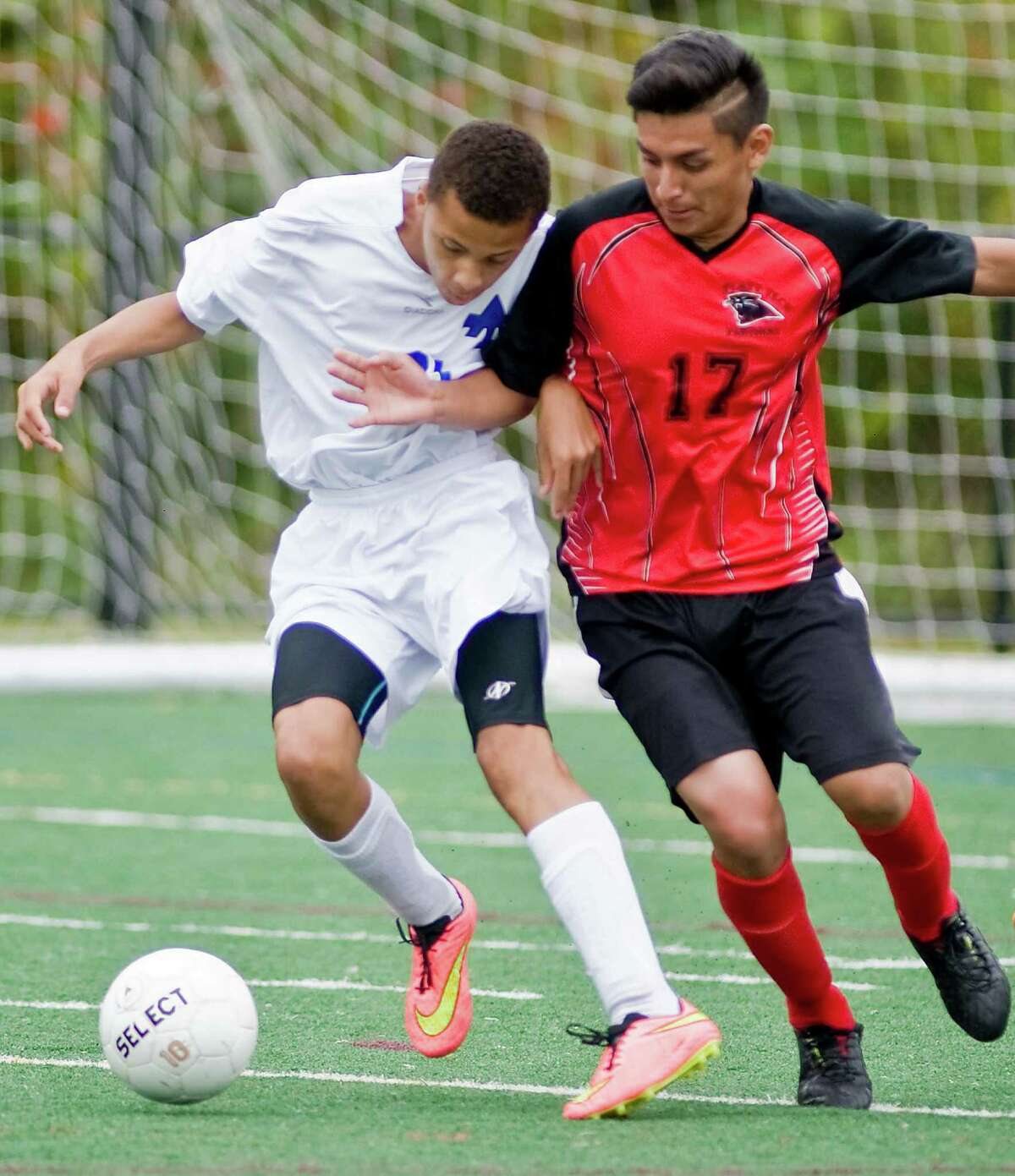 FILE PHOTO: Abbott Tech's Cristiano DaSilva and Platt Tech's Israel Zelocuatecat shove each other during a game at Broadview Middle School in Danbury. Thursday, Sept. 25, 2014