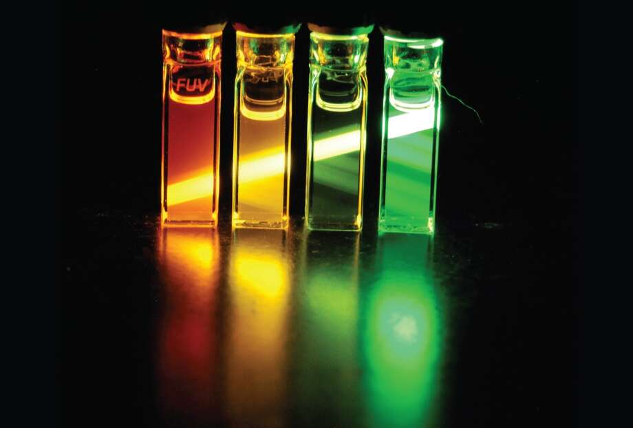 Light emitted from nanocrystals synthesized in the Cossairt lab for display applications. (Photo by Cossairt lab)