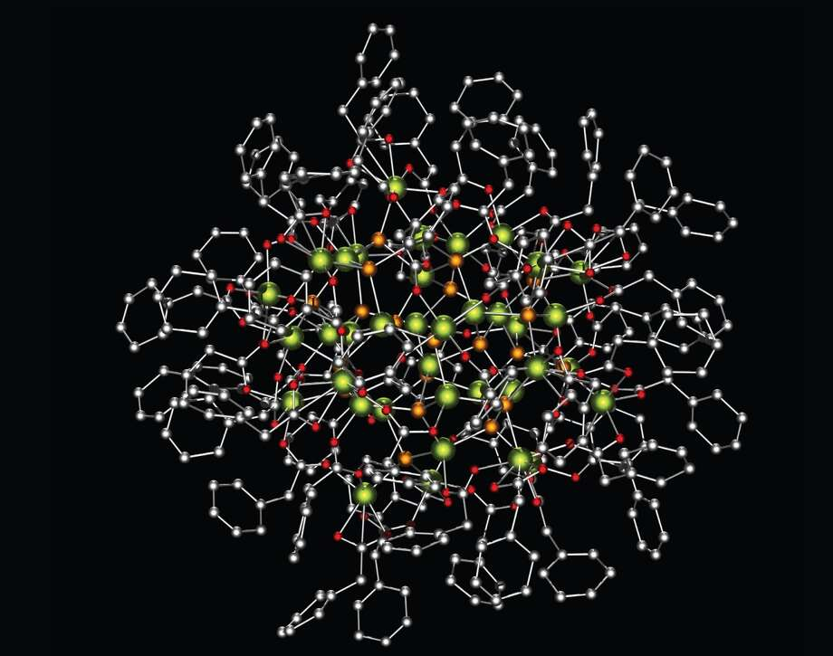 A single crystal X-ray diffraction structure — the first of its kind — of an indium phosphide nanocrystal synthesized in the Cossairt lab. (Photo by Cossairt lab)