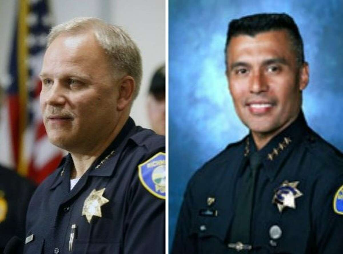 Richmond Police Chief, pictured left, and San Jose Police Chief Larry Esquivel, pictured right, were announced as finalists Monday for the job as Tucson Police Chief.