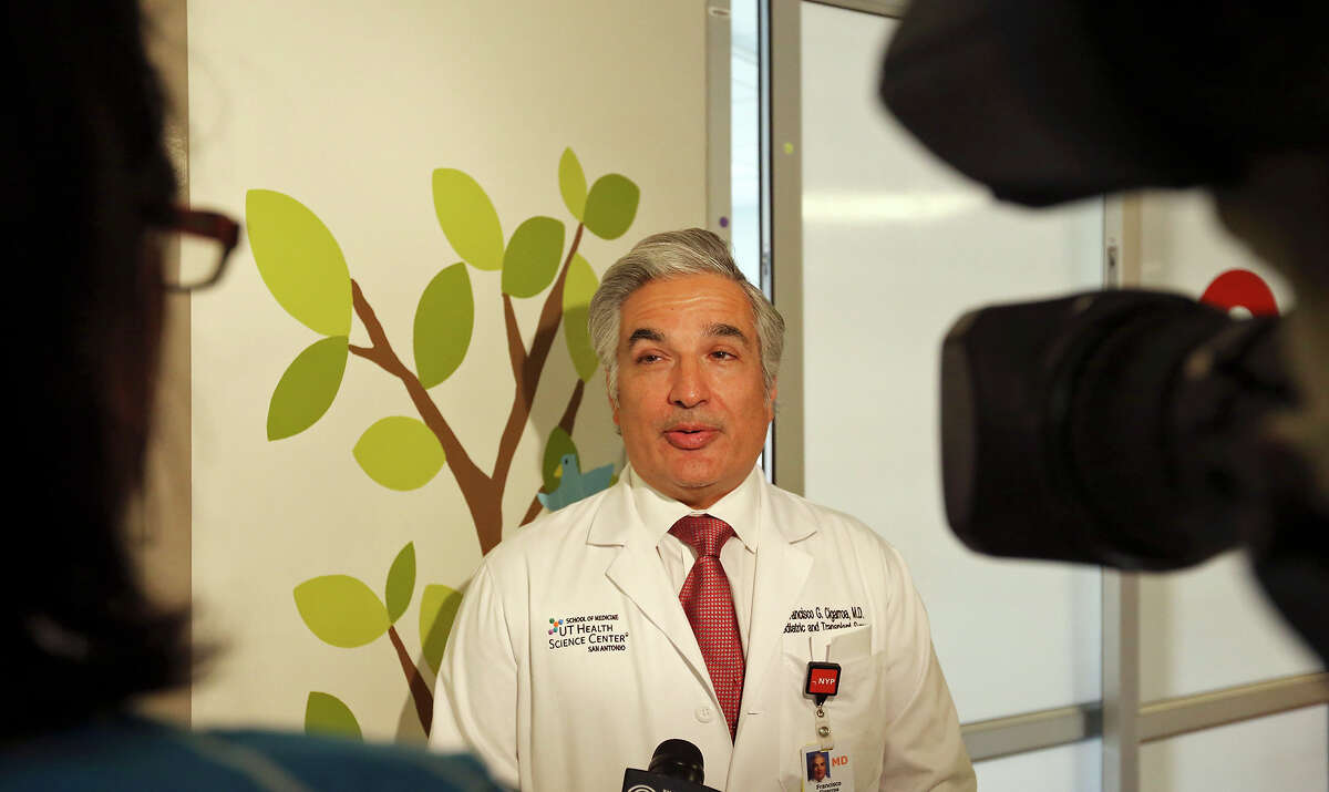 Dr. Francisco Cigarroa, surgical director of the pediatric transplant program at University Hospital, and professor of surgery at the University of Texas Health Science Center, answers questions from the media Monday Oct. 19, 2015. On Aug. 26, 2015 Dr. Cigarroa and colleagues performed a pediatric liver transplant on Hector Acosta III.