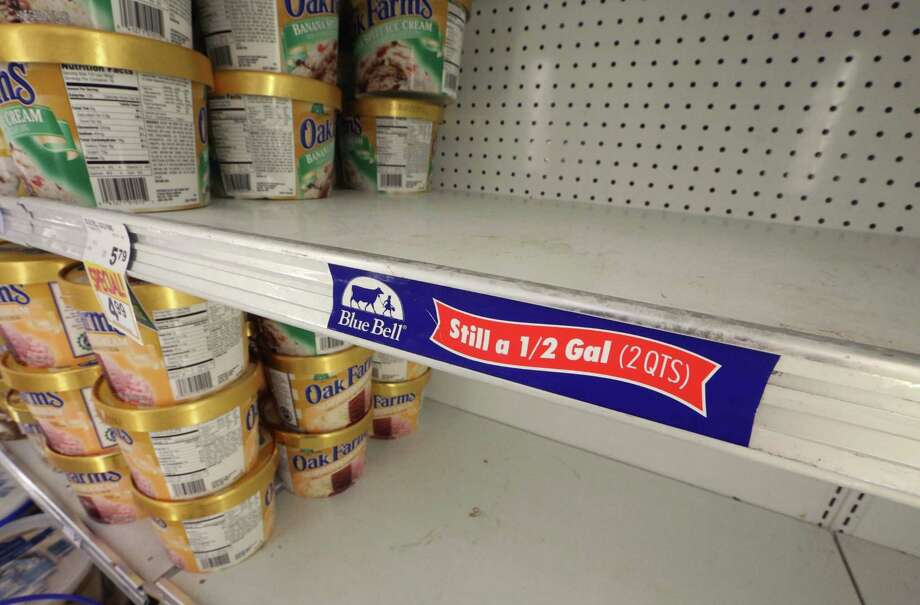 In this April 21, 2015 file photo, shelves sit empty of Blue Bell ice cream at a grocery store in Dallas afterTexas-based Blue Bell Creameries issued a voluntary recall for all of its products on the market after two samples of chocolate chip cookie dough ice cream tested positive for Listeriosis. An update tool from the CDC can help people bette track foodborne illness outbreaks Photo: LM Otero / Associated Press / AP