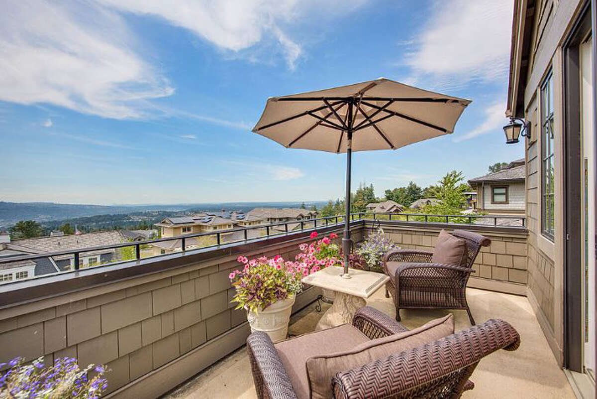 The home has views of the Seattle skyline.