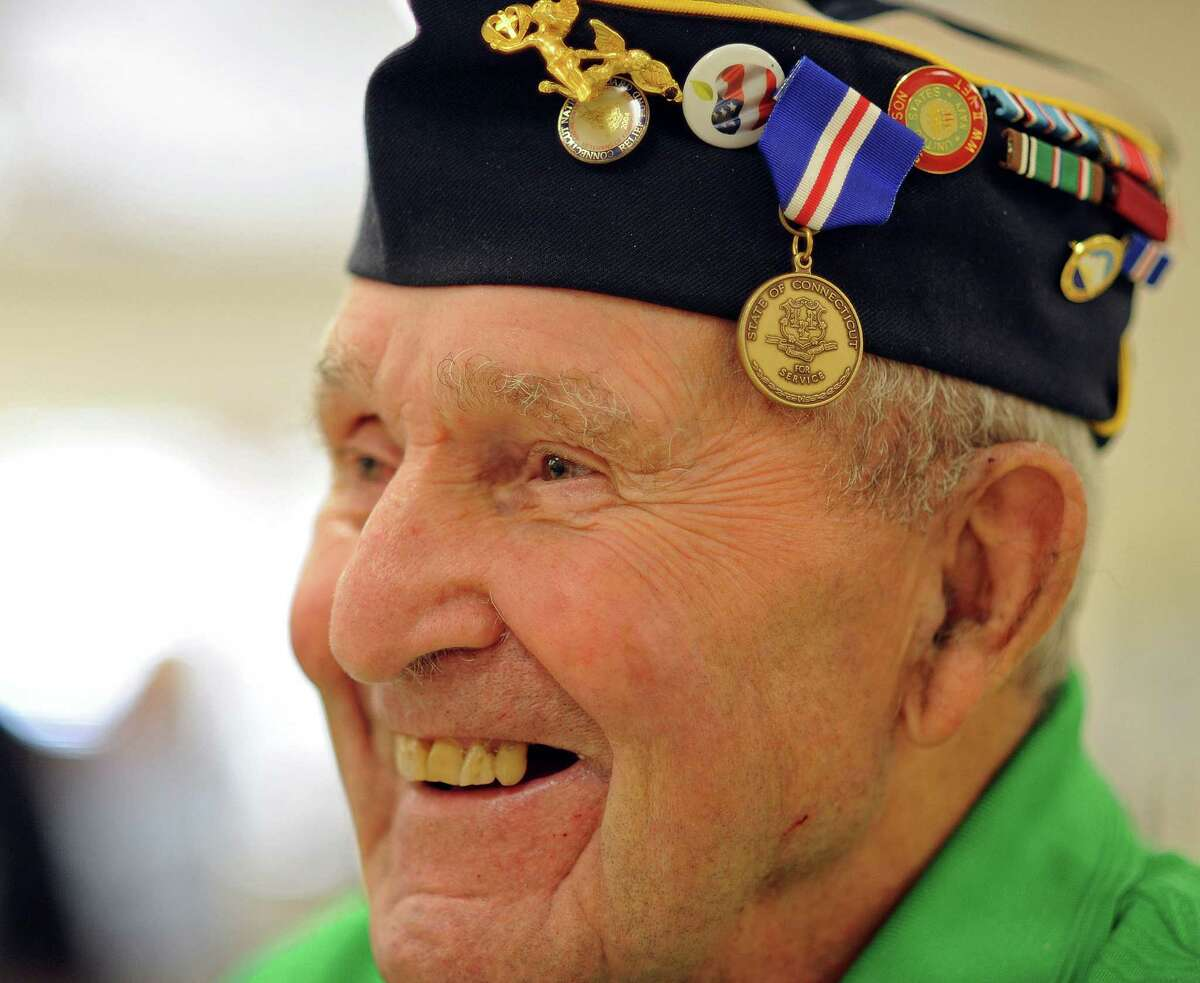 Navy veteran Joseph Prisco, of Milford, proudly displays his Connecticut Veterans Wartime Service Medal in this file photo from 2013.