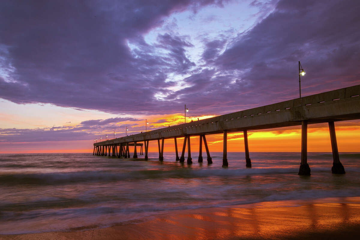 The Pacifica municipal pier at sunset.