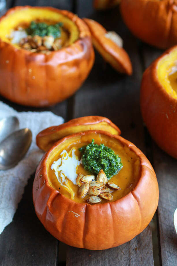 Roasted Garlic Sage Pesto Pumpkin SoupFall-ify your soup by serving it in a pumpkin.