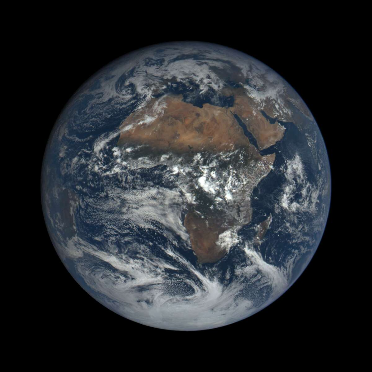 The Earth as seen from space on Oct. 17. (This image was taken by NASA's EPIC camera onboard the NOAA DSCOVR spacecraft)