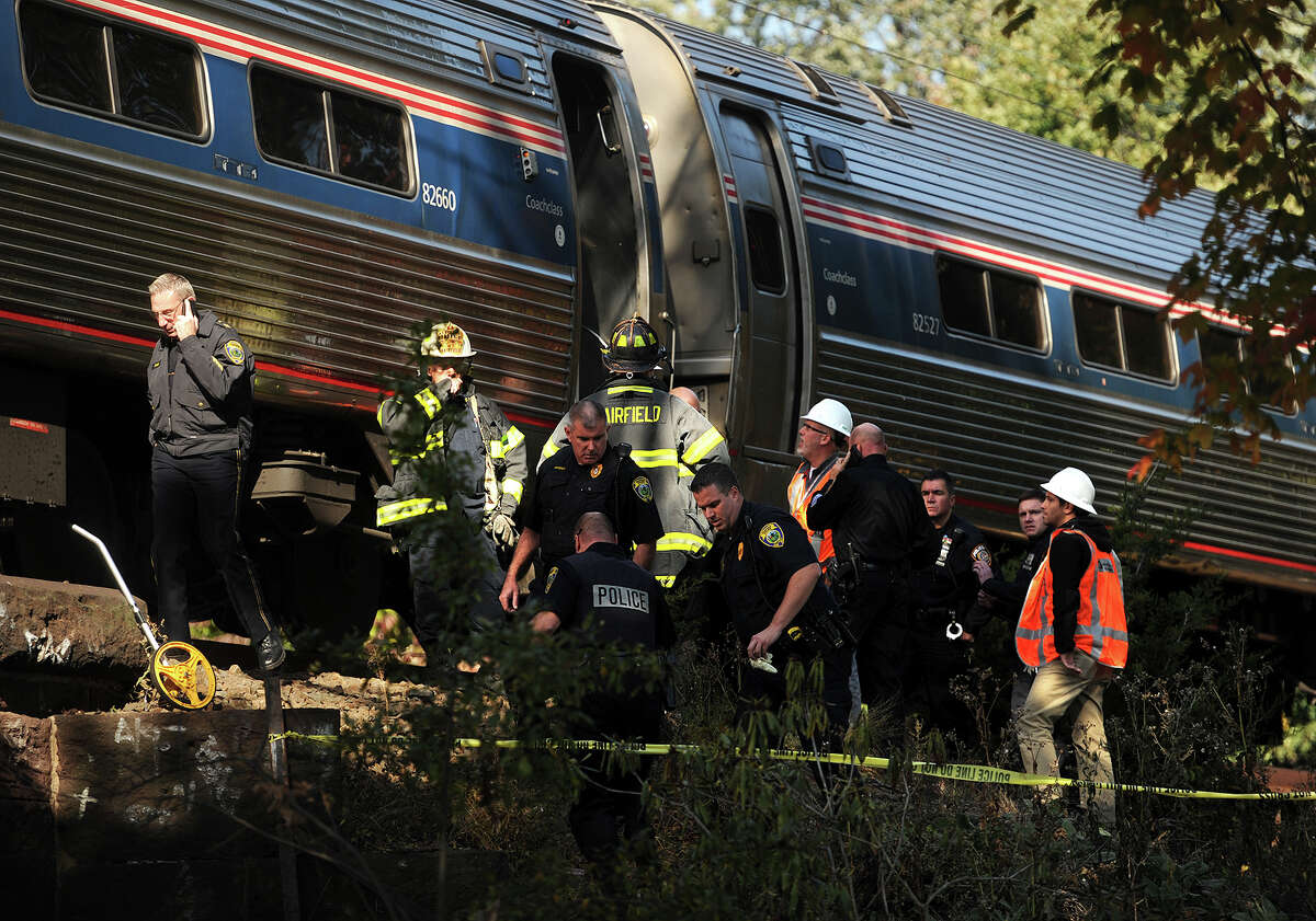 Fairfield police and fire are on the scene where a woman was struck and killed by an Amtrak train just west of the Southport Train Station in the Southport Section of Fairfield, Conn. on Tuesday, October 20, 2015.