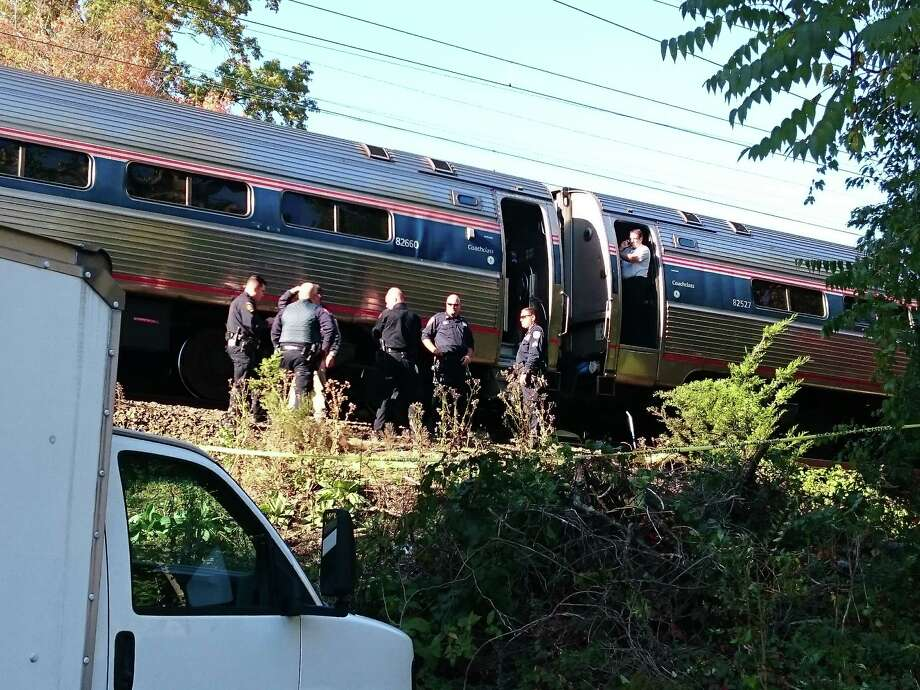 Police and Amtrak personnel at scene of fatality on the tracks Tuesday at Southport Railroad Station. Photo: Genevieve Reilly / Fairfield Citizen